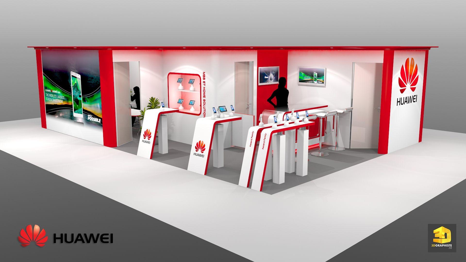 Bien-aimé Stand Huawei - Stand pour Salon Professionnel - 3DGRAPHISTE.FR  KH46