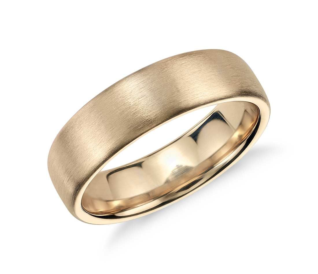 Matte Modern Comfort Fit Wedding Ring in 14k Yellow Gold (6.5mm ...