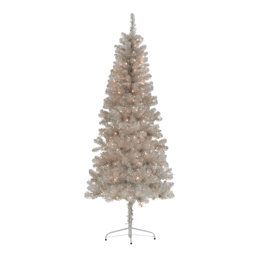 Holiday Time Pre Lit Rose Gold Tinsel Christmas Tree 6 5 Clear Walmart Com Tinsel Christmas Tree Metal Christmas Tree Rose Lights