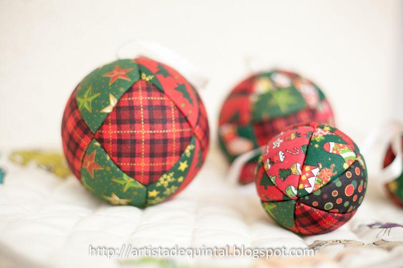 Artista de quintal: Patchwork no isopor - bolas de Natal