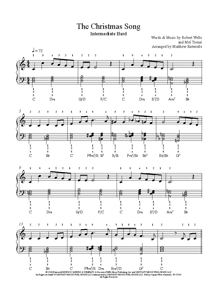 The Christmas Song by Nat King Cole Piano Sheet Music | Intermediate ...