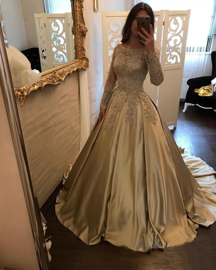 Gold Prom Dresses With Long Sleeves Elegant Lace Appliques Evening ... 59958bba3640