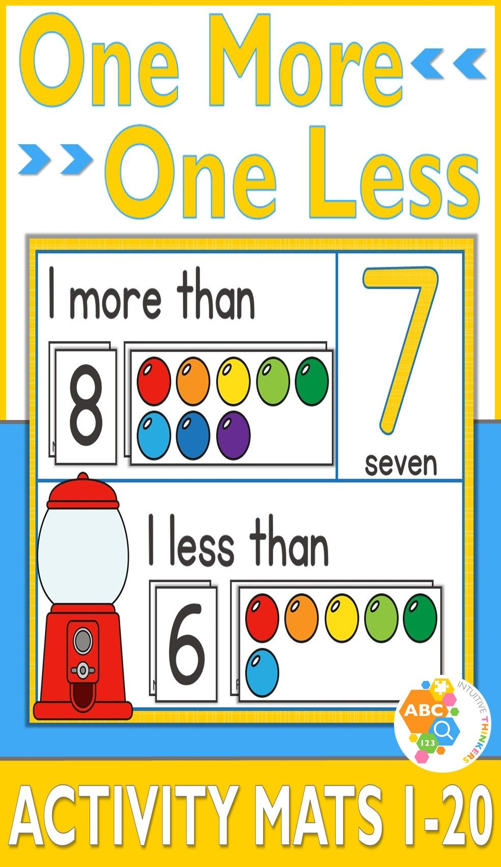 These One More One Less Gumball Number Activity Mats 1 20 Provide A Hands On Approach In Helping Childre Number Activities Numbers Kindergarten Math Activities [ 1701 x 983 Pixel ]