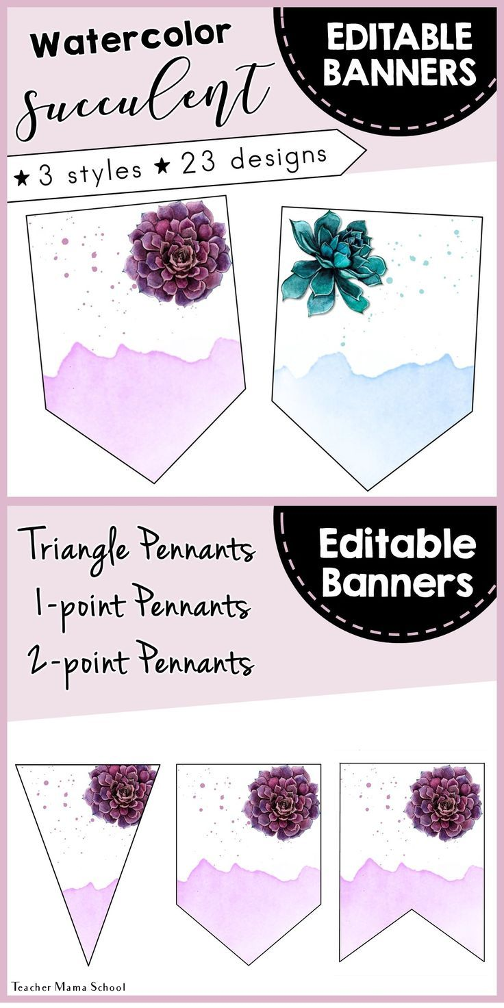 Editable Pennants Banners Watercolor Floral Succulents