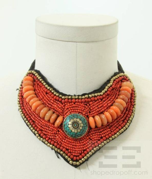 beaded+bib+necklace | Designer Coral Turquoise Beaded Bib Collar Necklace | eBay