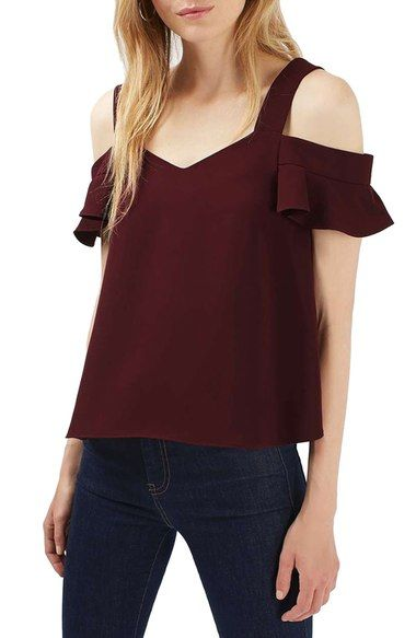 b98bd9225ddd3a Topshop  Polly  Ruffle Bardot Top at Nordstrom