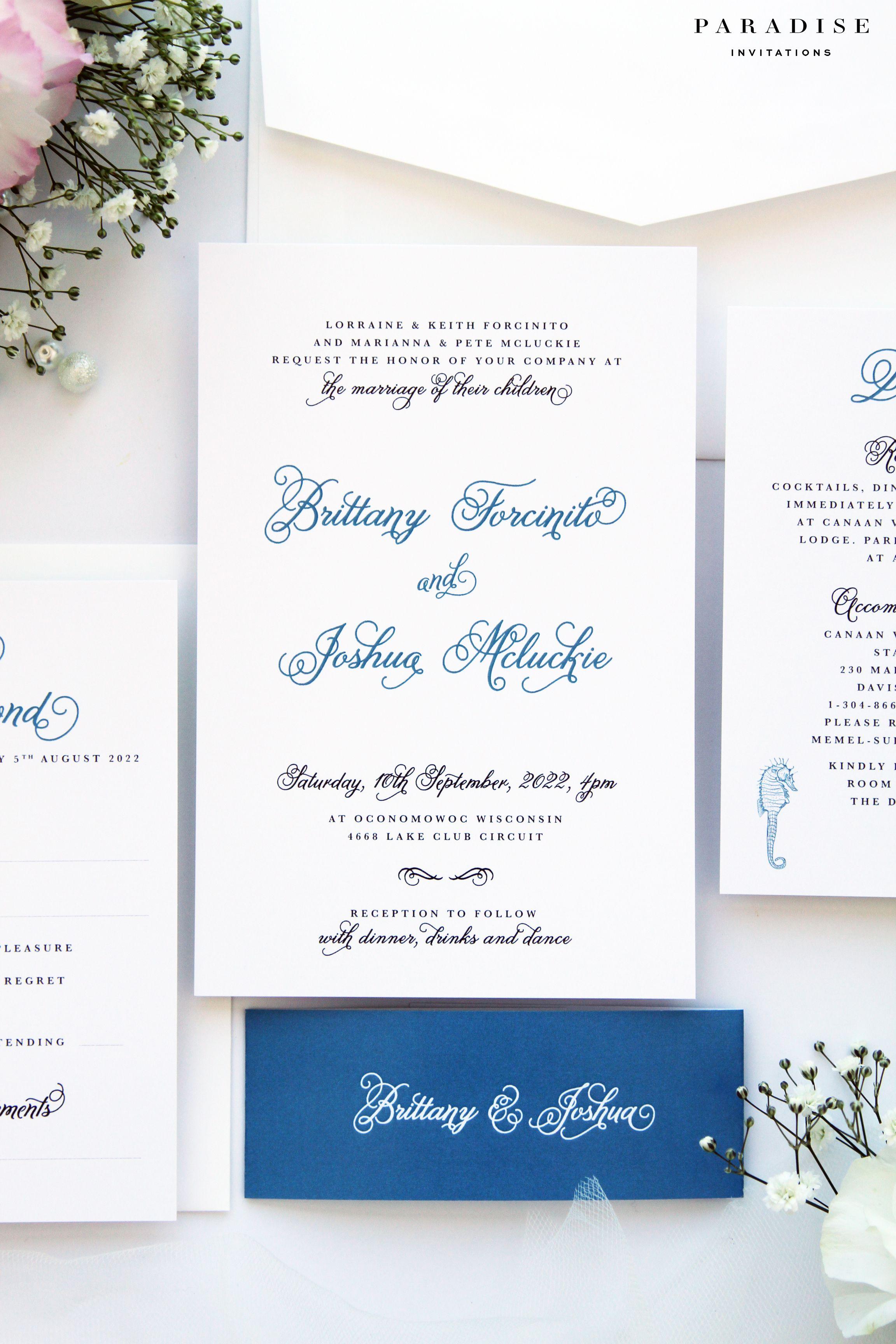 Brianna Beach Sea Wave Wedding Invitation Sets Modern Calligraphy