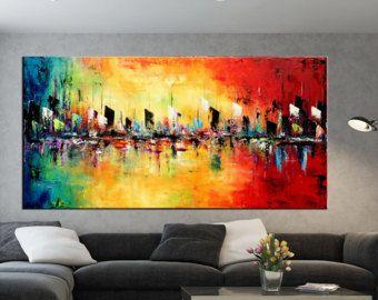 Rectangular grande abstracto paisaje pintura esp tula for Espejos rectangulares horizontales