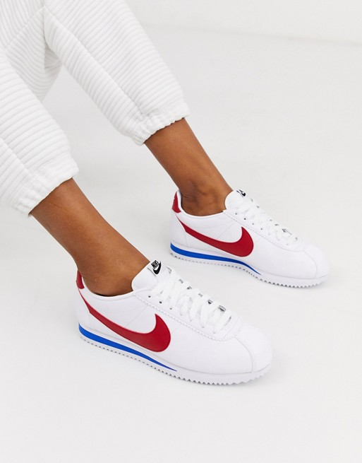 Nike White Red And Blue Classic Cortez