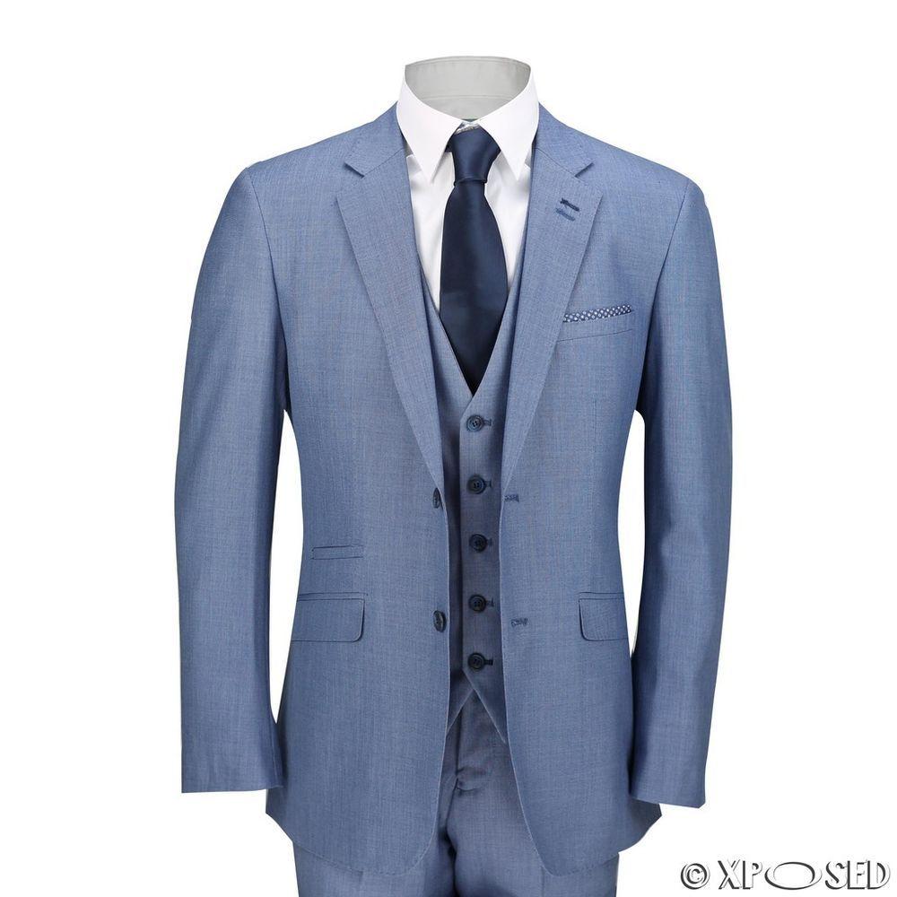Mens Sky Blue 3 Piece Suit Work Wedding Prom Party Blazer Waistcoat ...
