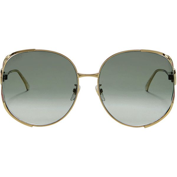 Gucci Gold Round Sunglasses (€410) ❤ liked on Polyvore featuring ...