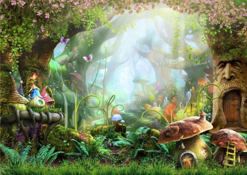 Magic Wood Kids Wallpaper Fairytale Town Kids Room Sticker Wall Nursery Photowallpaper Mural Self Adhesive Exclusive Design Photo Wallpaper In 2021 Forest Backdrops Fairy Garden Ideas Enchanted Forest Fairy Tale Forest
