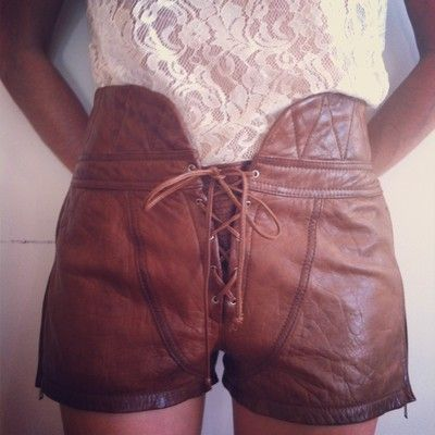 Alexander Wang Runway Womens Leather Lace Up Shorts, Spring 2010, Look 11