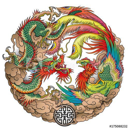 Photo of oriental dragon and phoenix