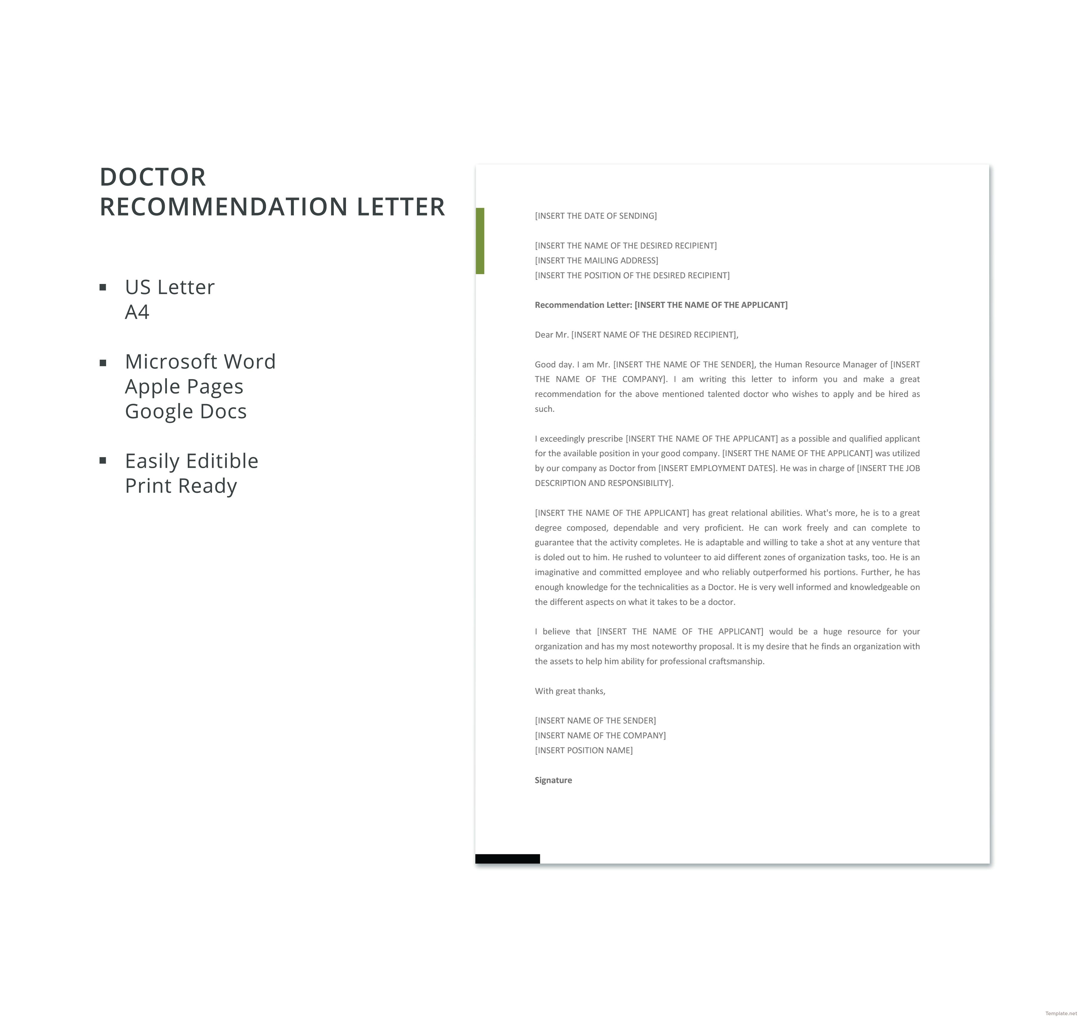 Free Recommendation Letter Template Magnificent Download Doctor Recommendation Letter Template For Free In Ms Word .