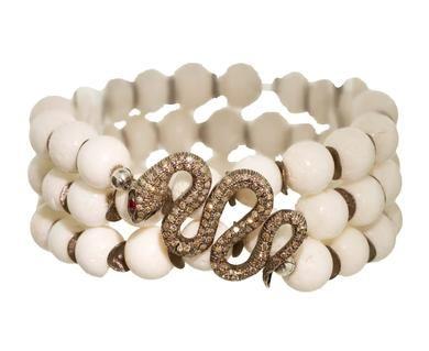 Renee Sheppard | White Sponge Coral and Diamond Pavé Snake Wrap Bracelet in Bracelets Wraps at TWISTonline
