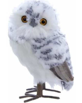 "KSA Pack of 4 Woodland White and Black Furry Owl Christmas Ornaments 8.5"" from Christmas Central 