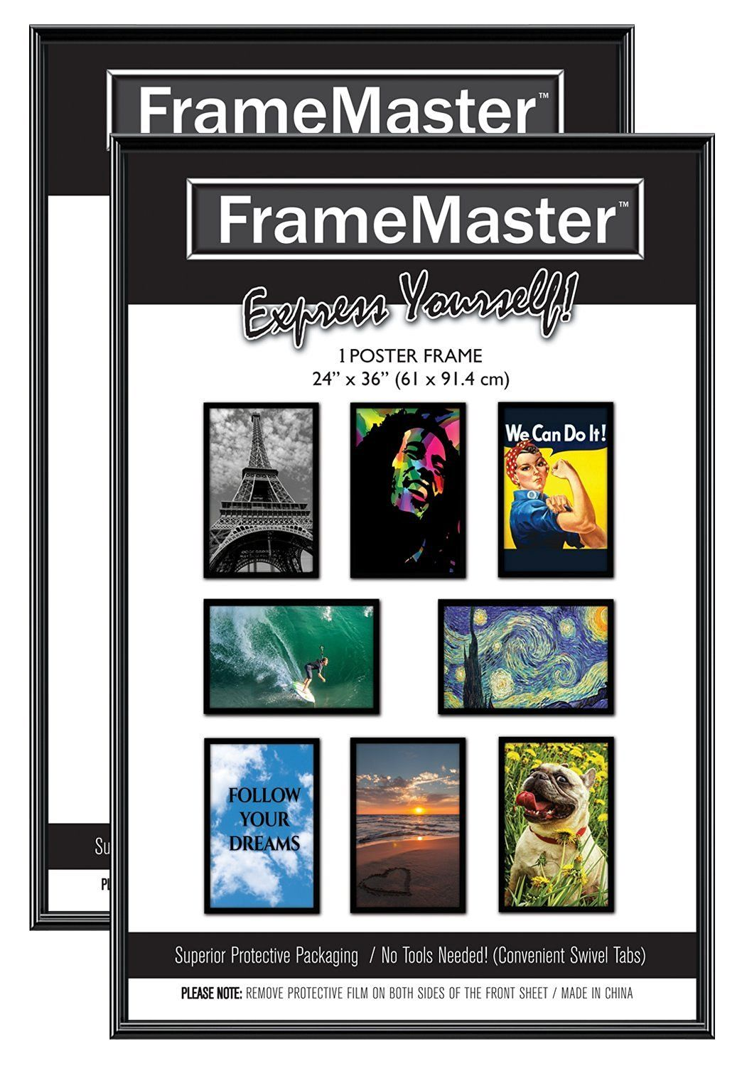 FrameMaster Poster Frames (2 Pack) 61x91,4cm, Black, Contemporary, Sturdy, Easy Installation, Pre-assembled and No Tools Needed