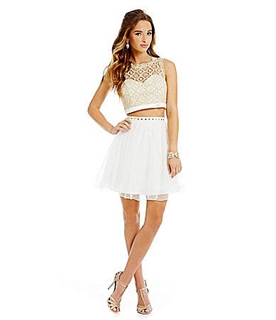 bbddd3a3584 Sequin Hearts Scalloped Lace TwoPiece Party Dress  Dillards.  Dillards 2  Piece Prom ...
