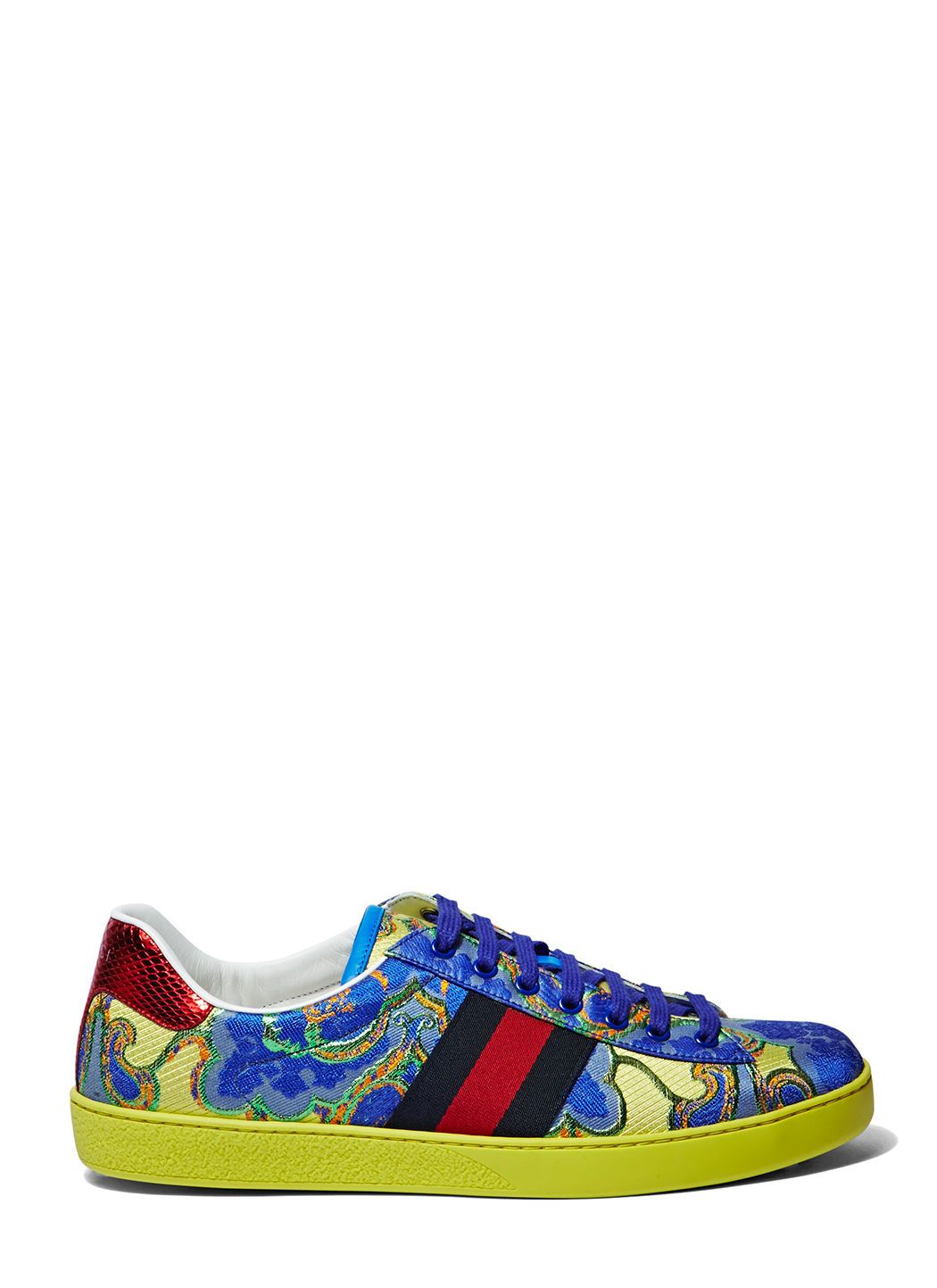 483d99270 GUCCI Men S Metallic Jacquard Sneakers In Yellow And Blue.  gucci  shoes