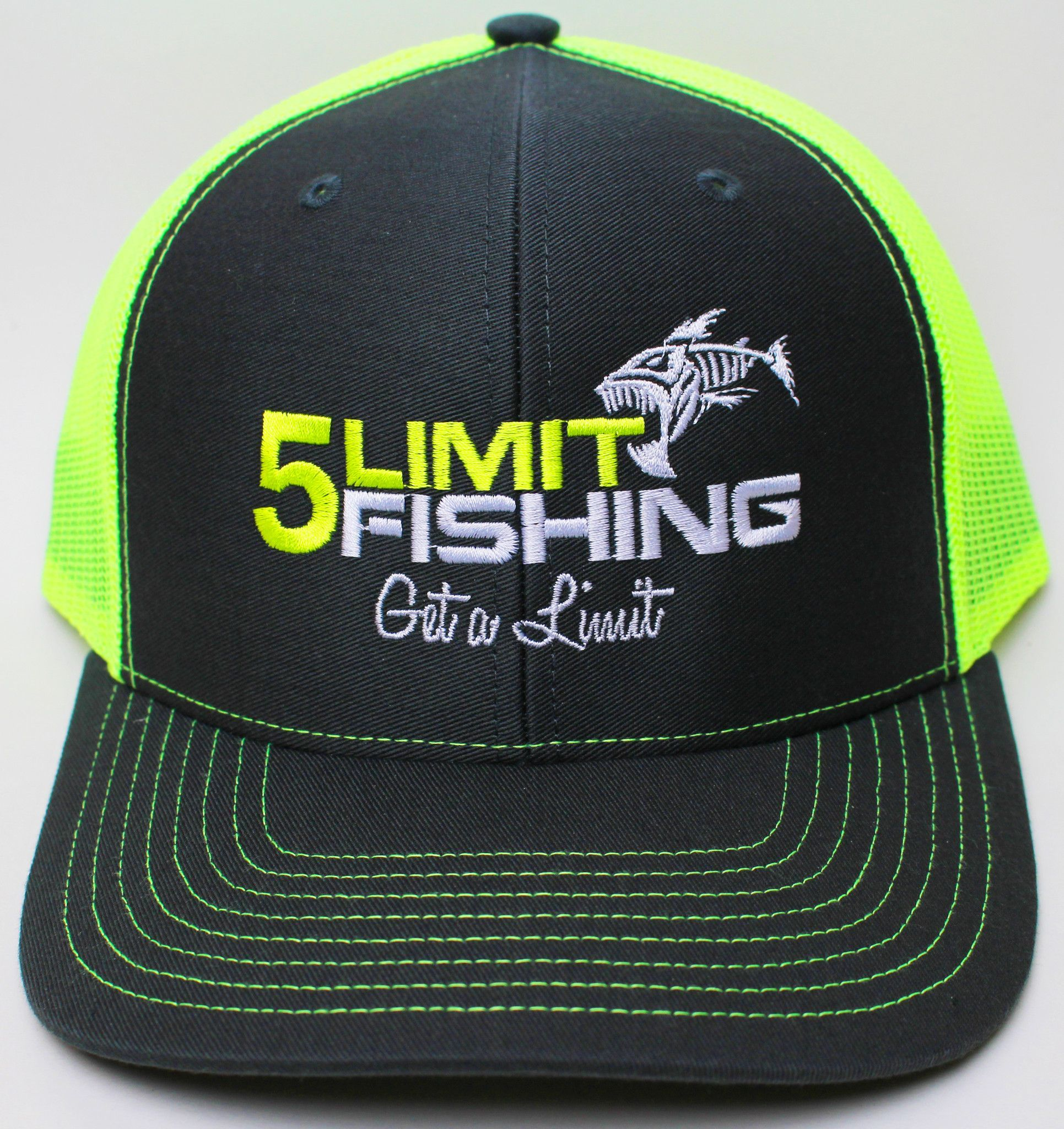 71ec4910 Show The World Your Passion with this super sharp 5Limit Fishing charcoal  gray/neon yellow trucker style hat with a white mesh back.