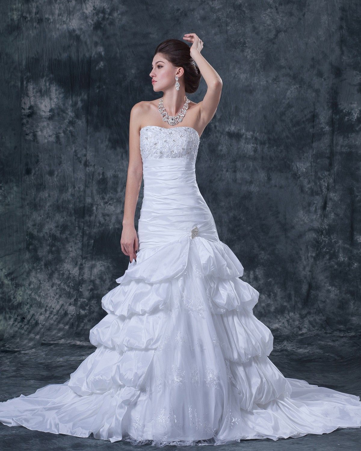 Lace applique ruffles taffeta satin strapless beading cathedral