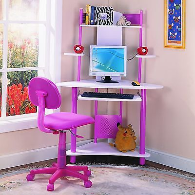 Pink Childrens Computer Desk Kids Study Table Home Room Furniture School New