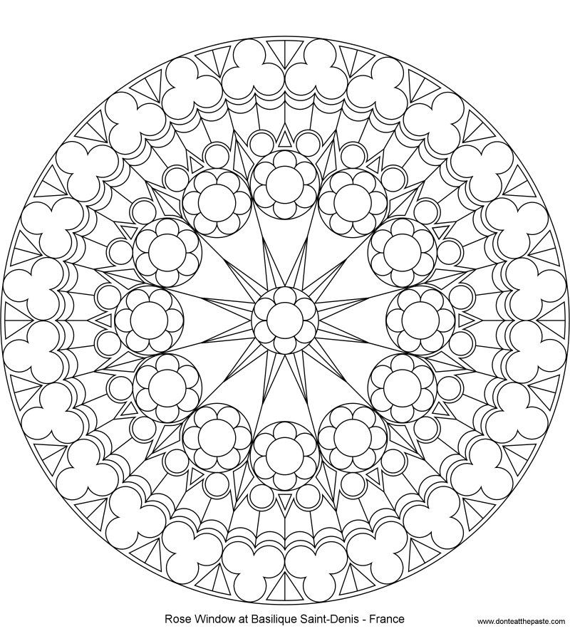 Coloring Page Rose Window At Saint Denis North Mandala