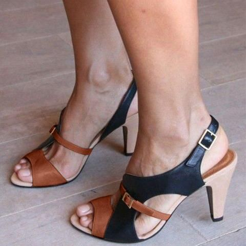 Chunky Heel Sandals Buckle Shoes