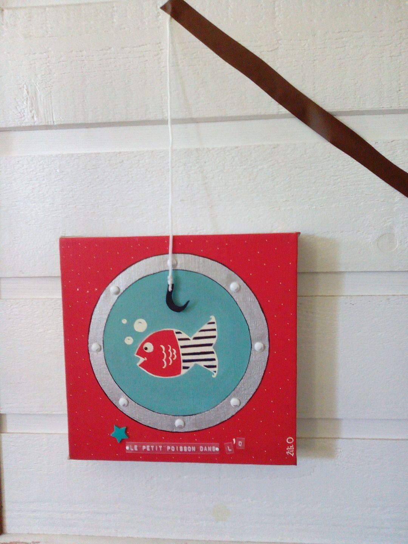 Toile pour chambre enfant le petit poisson dans l 39 o chambre d 39 enfant de b b par mes p - Toile pour chambre bebe ...