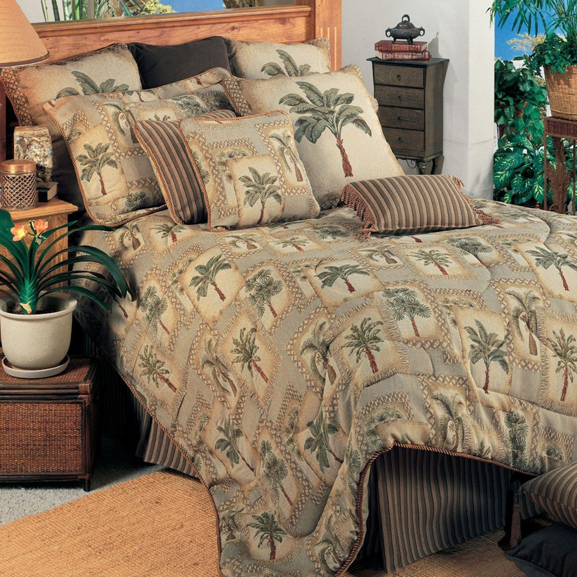 Palm Grove Tropical Palm Tree Comforter Bedding | Comforter sets
