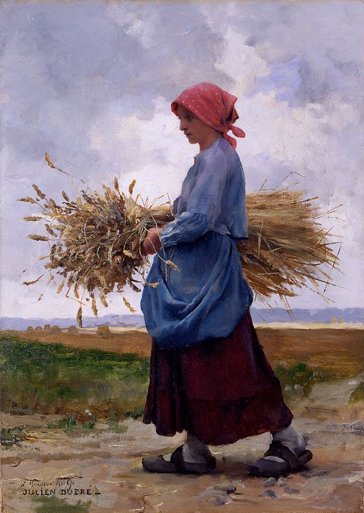 Julien Dupré (1851 - 1910) Ritorno dai campi Olio su tela 18 x 13 cm