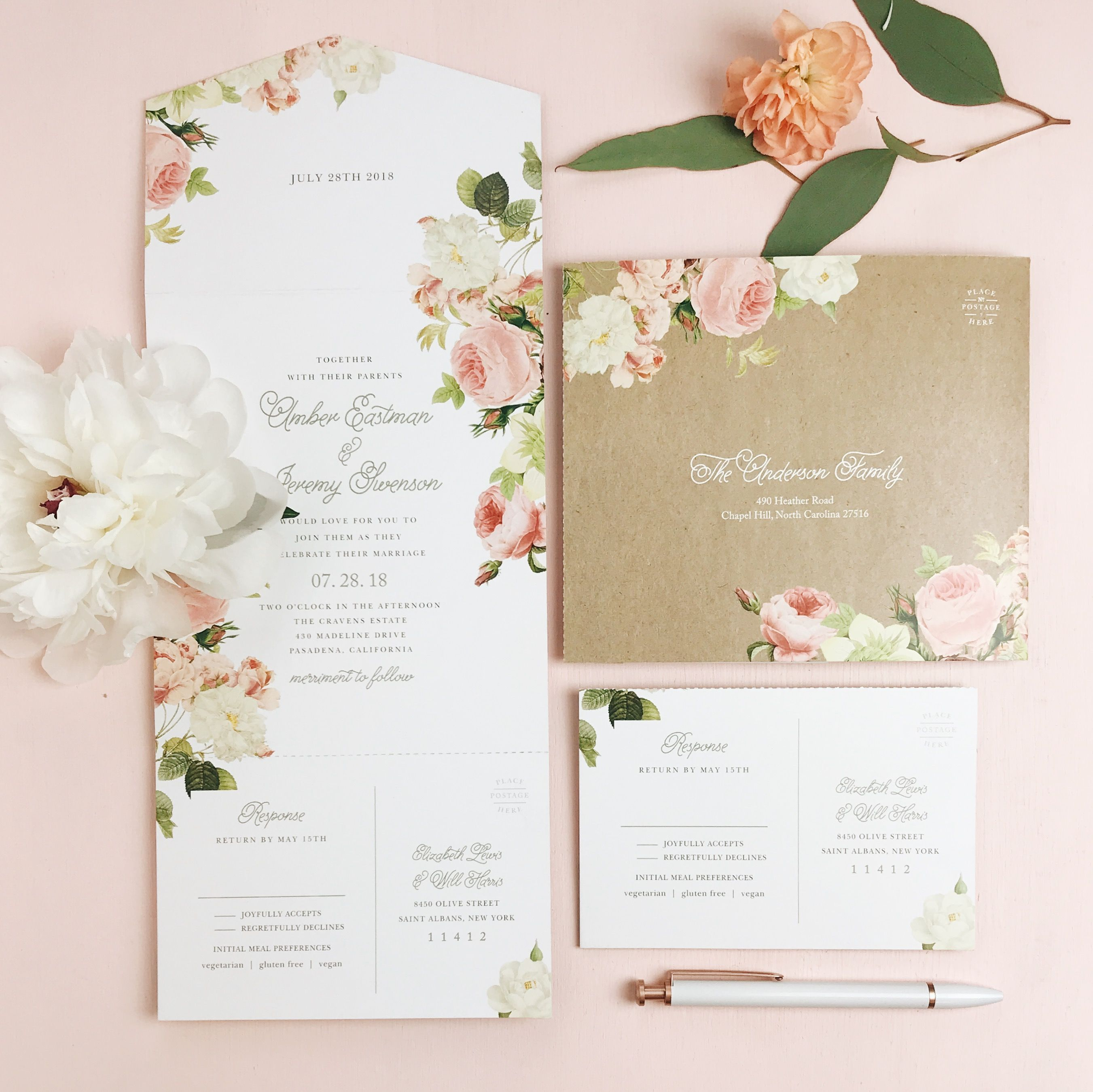Our New Obsession Seal And Send Wedding Invitations Dainty And Adorab Discount Wedding Invitations Floral Wedding Invitation Card Floral Wedding Invitations