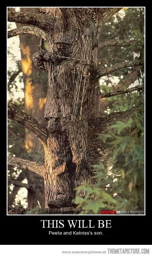 This will be Peeta and Katniss' son...Katniss=archer  Peeta=camouflage