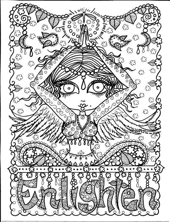 Instant Download Enlighten Yoga Art to color/digi stamp/adult color ...