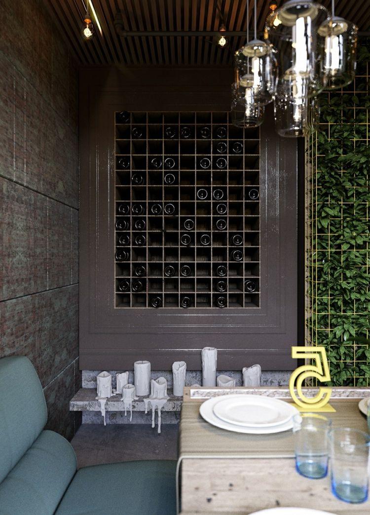 wein-lagern-wandgestaltung-dunkel-sitzbereich-kerzen-deko - versenkbare steckdose küche