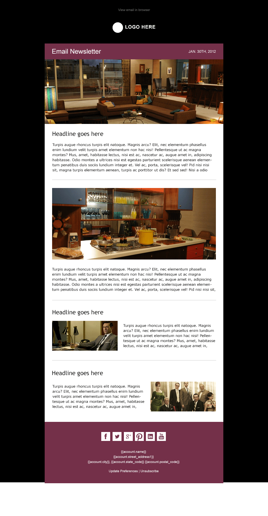 midnight modern simple email newsletter template available from