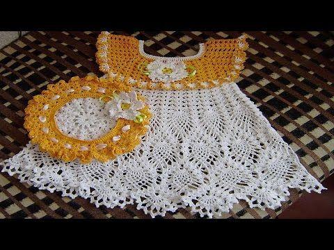Vestidos tejidos a crochet para bebes de 0 a 12 meses - YouTube ...