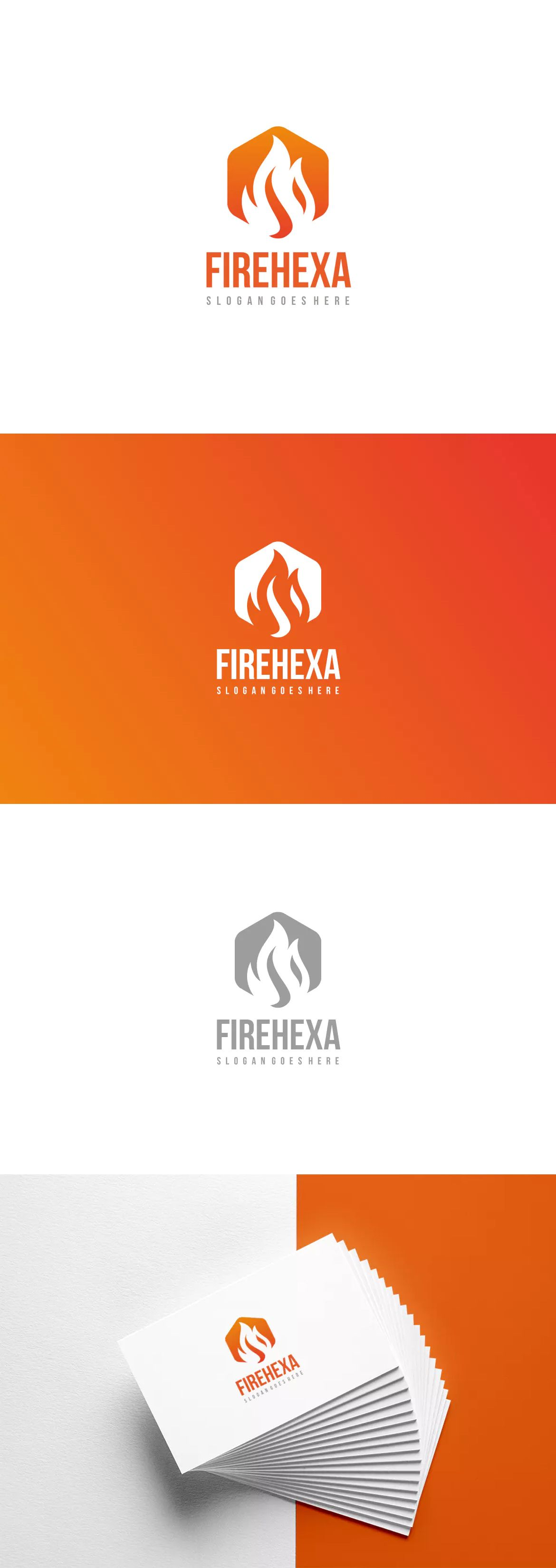 Fire Hexagon Logo Template AI, EPS. Download (With images