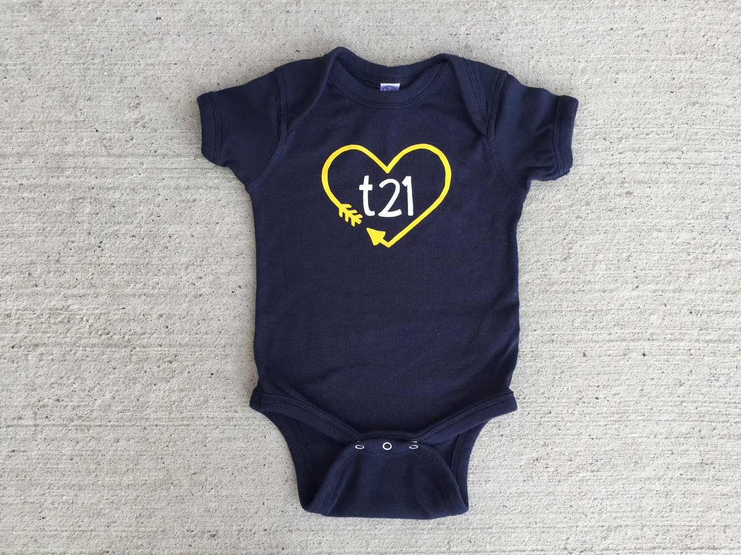d361889b0 Down Syndrome Awareness Onesies ~ Baby Girls or Baby Boys, Navy Short-Sleeved  Onesie with Yellow and White