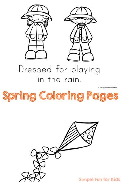 Spring is here! Not quite yet where you are? No problem, get in a spring-y mood with these cute spring coloring pages! The pdf file contains eight pages to color with text to copy, trace or read for toddlers, preschoolers, and kindergartners.