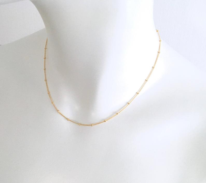 Minimalist Satellite Necklace Or Choker 14k Gold Filled Thin Gold Necklace Everyday Necklace Delicate Layering Necklace Gift For Her Delicate Layered Necklace Necklace Gold Necklace