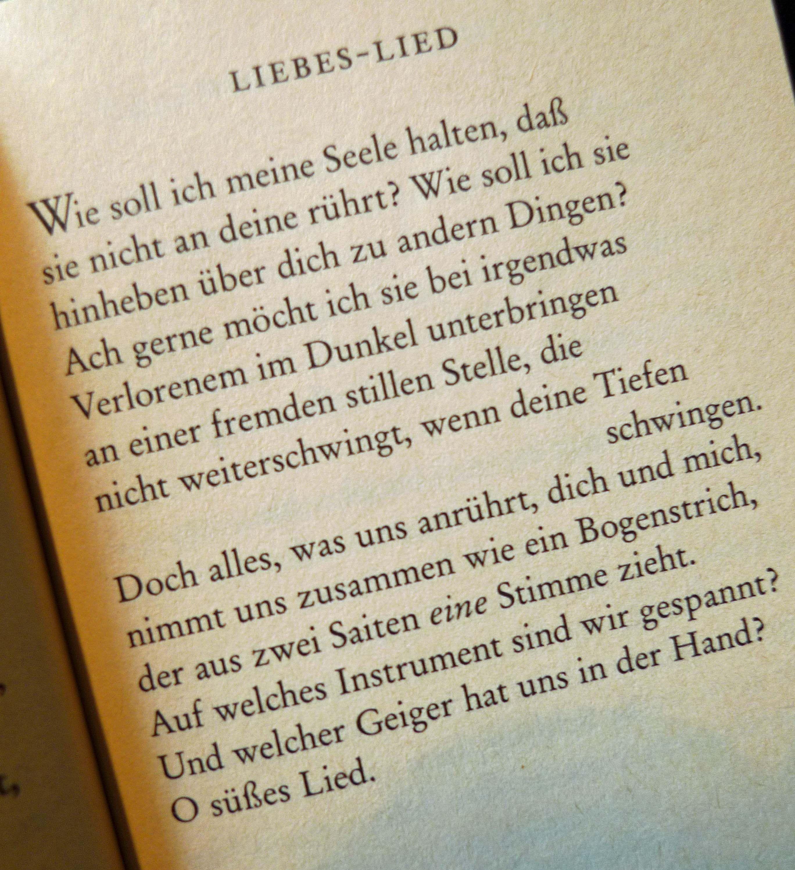 Liebes Lied Love Song By Rainer Maria Rilke German Literarische Zitate
