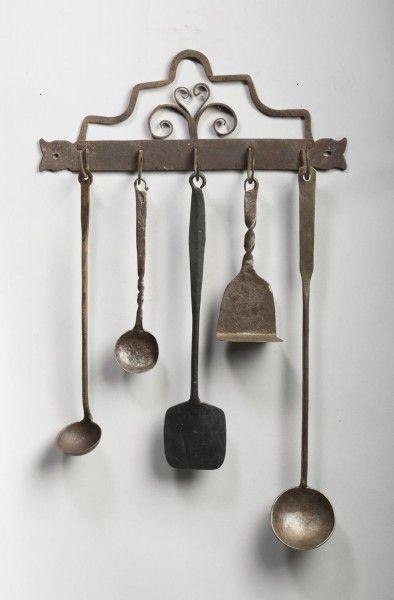 Wrought Iron Utensil Hanger And Five Utensils Nineth Century