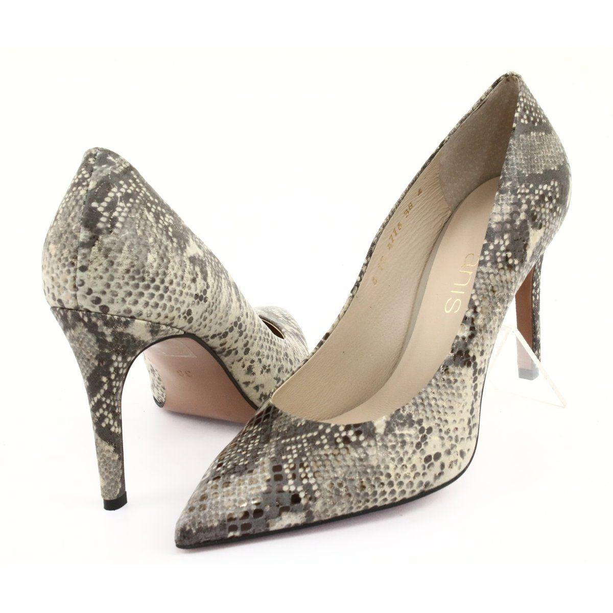 Zwierzece Czolenka Na Szpilce Anis 4716 Pyton Bez Brazowe Heels Shoes Pumps