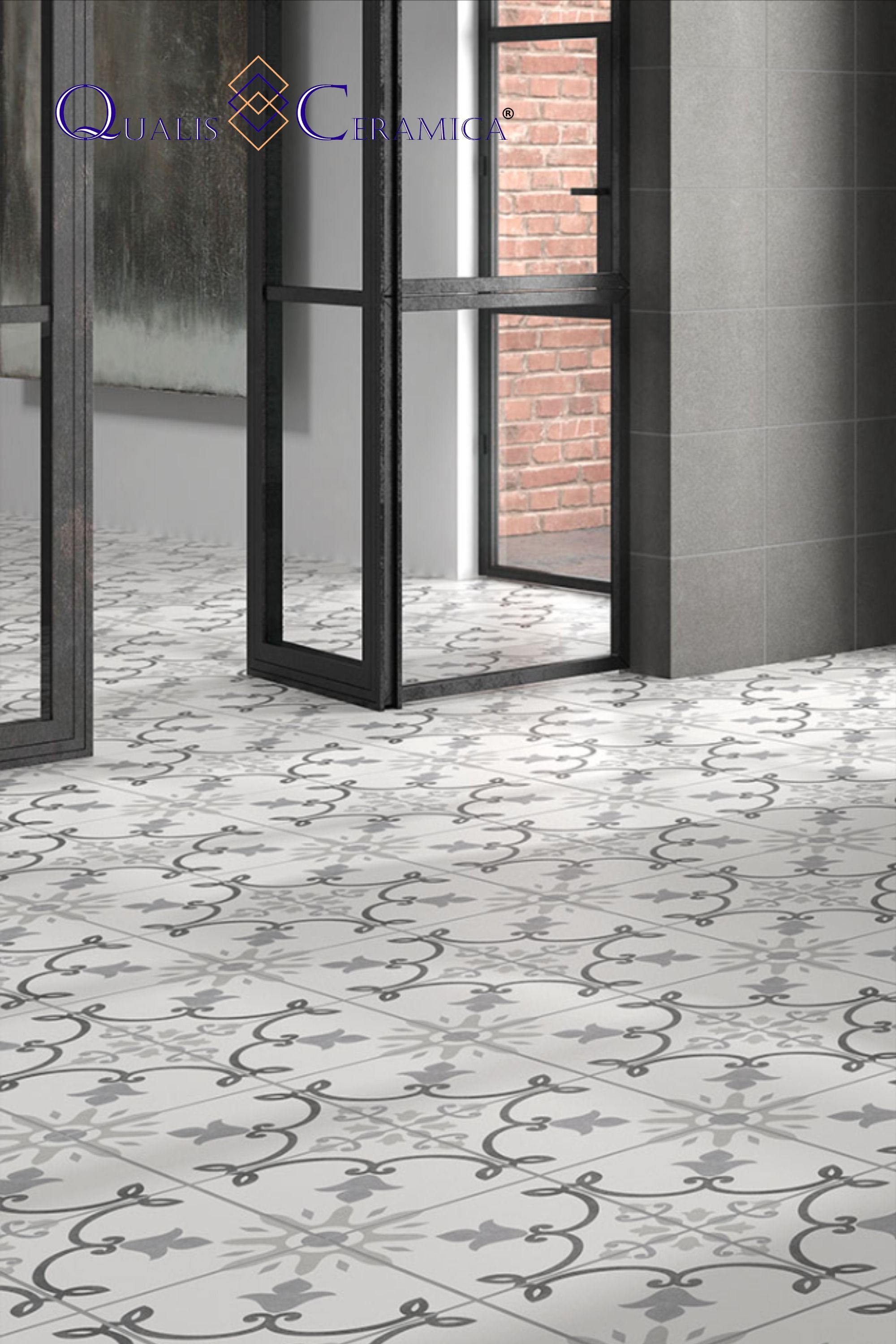 Master Bath Floor Tile Qualis Ceramica Gibraltar Alameda Gris 10x10 Cement Look Porcelain Tile In 2020 Slip Resistant Tiles Tile Floor Entryway Flooring