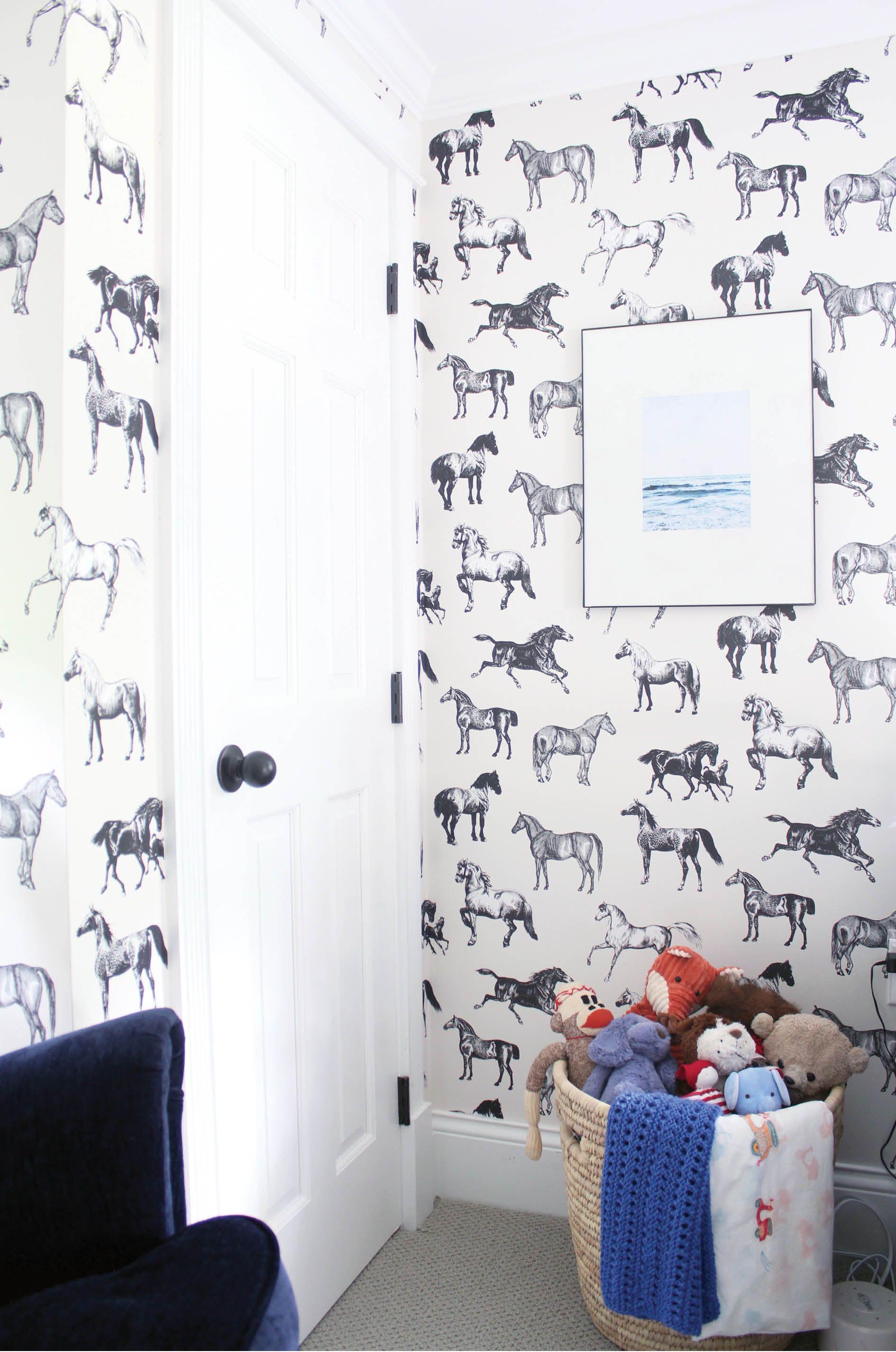 nursery, black and white horse wallpaper