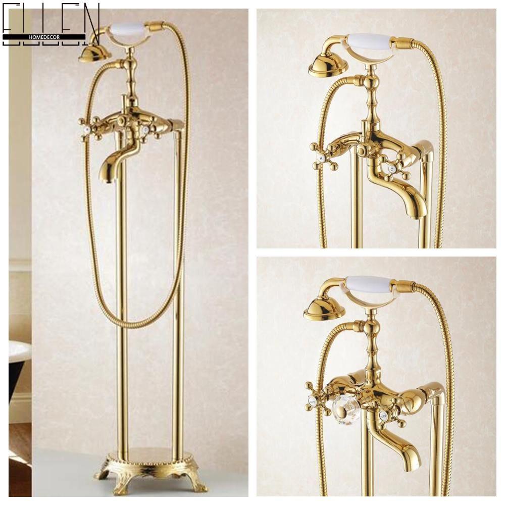 Bathroom Golden Floor Stand Faucet Telephone Type Bath Shower Mixer ...