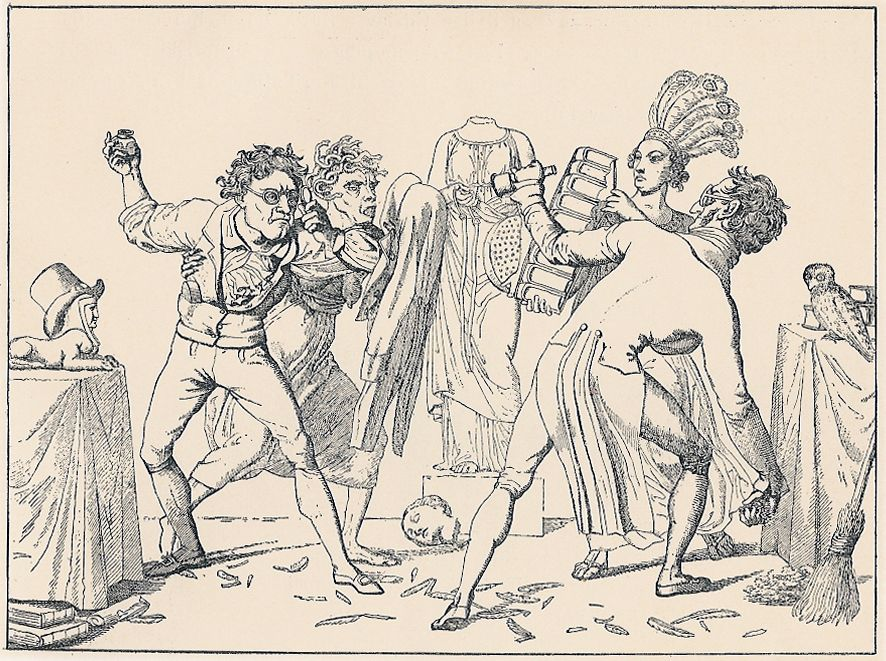 Danish caricature: Pennefejden (Feud of the Pens), Eckersberg 1818. Two well known litterary critics at the time fight each others, helped by Avarice at the left and Pride at the right. In the background Sense has lost her head.