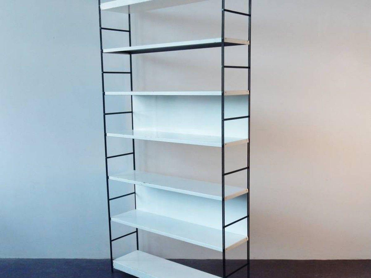Black and white metal bookshelf. Netherlands, 1960\'s - NOVAC Vintage ...